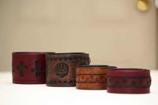 Custom Made Live To Ride Wings Custom Leather Cuff Bracelets