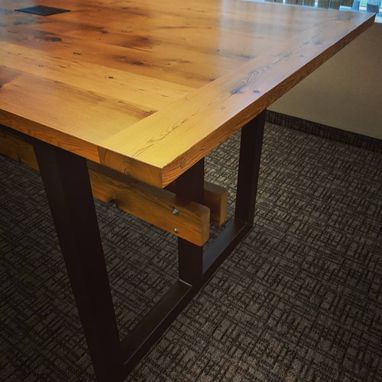 Custom Made Heavy Duty Conference Table, Reclaimed Wood And Steel