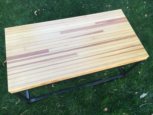 Custom Made Reclaimed Bowling Alley Wood Coffee Table - Handmade In Denver