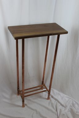 Custom Made Walnut And Copper Pipe Display Table