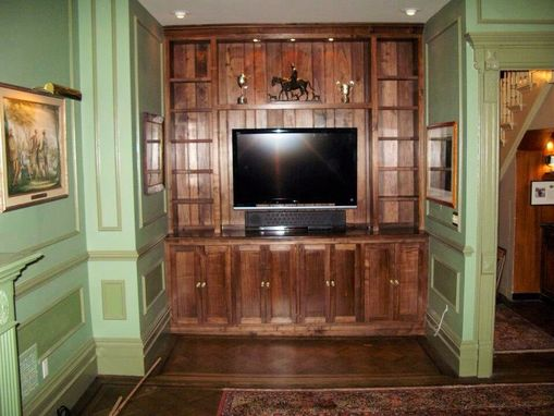 Custom Made Walnut Built In Media Cabinet