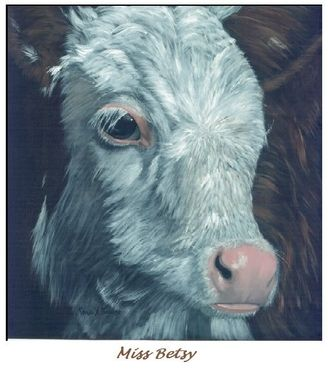 "Custom Made ""Miss Betsy""  Hereford Cow Painting"