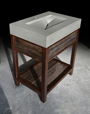 Custom Made Rustic Modern Concrete, Wood, & Steel Vanity