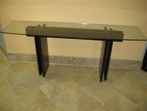 Custom Made Oak And Glass Hall Table
