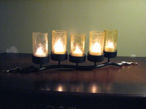 Custom Made Candelabra With Five Etched Champagne Lenses
