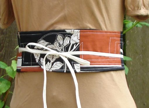 Custom Made Obi-Inspired Belt In Tan, Off-White And Black