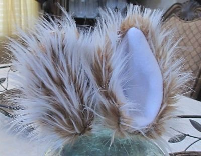 Custom Made Blonde White Strands Luxury Long Pile Shag Faux Fur Cat Ears With Hair Clips