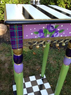 Custom Made Hand Painted Accent Side Table