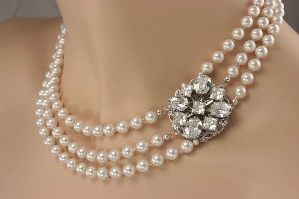 3663cfed4 Custom Made Vintage Style Wedding Necklace, Multistrand Pearls And  Rhinestones, Swarovski Elements Crystals,