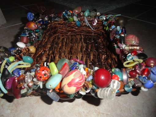 Custom Made Small Beaded Wicker Tray With Brown Ribbon