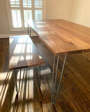 Custom Made Walnut Dining Table And Matching Bench W/ Hairpin Legs