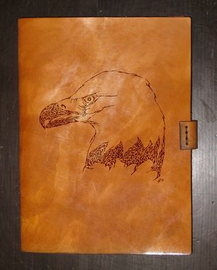 Custom Made Heavy Leather Ipad Mini/Tablet Case - Bold Eagle - Design By Brian Scott, Bsd Studios