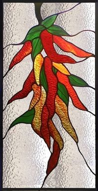Custom Made Red Hot Chili Peppers - Stained Glass Panel