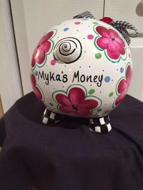 Custom Made Custom Hand Painted Piggy Bank//Ceramic Piggy Bank// Pig // Bank