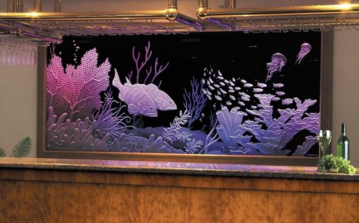Custom Made Illuminated Carved / Etched Glass - Mega-Yacht Bar