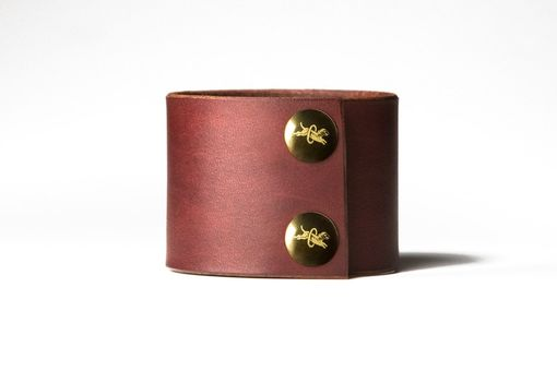 Custom Made Chestnut Brown Leather Cuff - Brass Fasteners - 2 Inches Wide