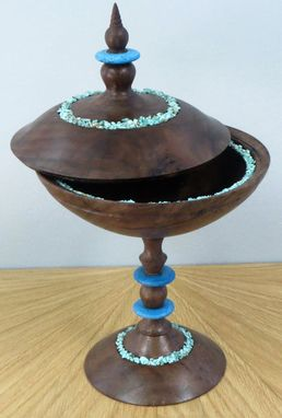 Custom Made Wood Box On Pedestal With Turquoise Inside And Out