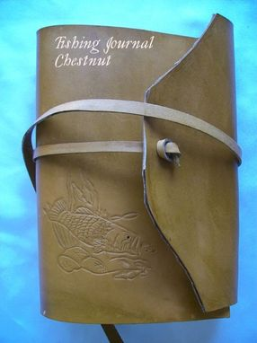 Custom Made Custom Leather Journal With Fishing Journal Pages And Fish Design In A Chestnut Stain