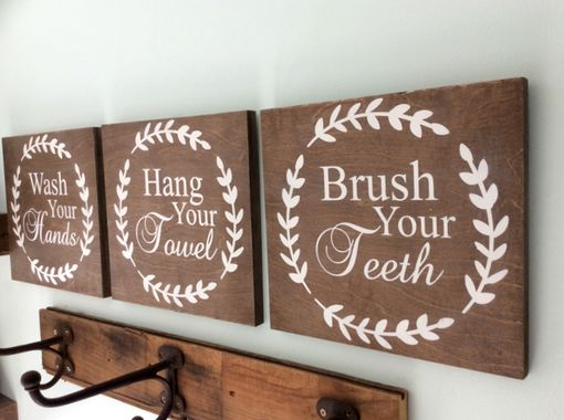 Custom Made Rustic Farmhouse Bathroom Signs Set