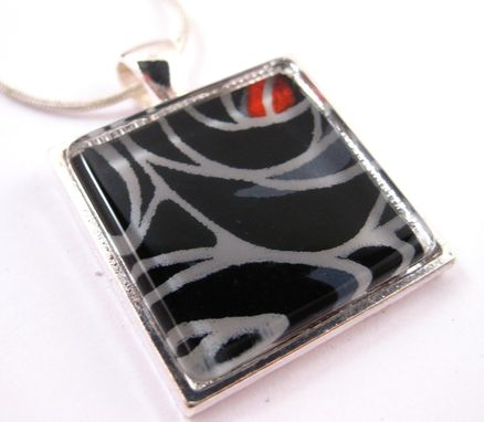 Custom Made Glass Tile Pendant With Black Rose Design On Silver Snake Chain Necklace