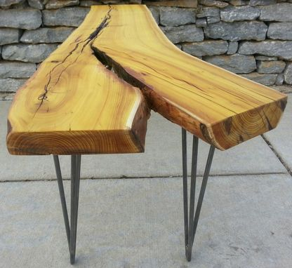 Custom Made Osage Orange Live Edge Coffee Table Modern Rustic Natural Edges Hairpin Legs