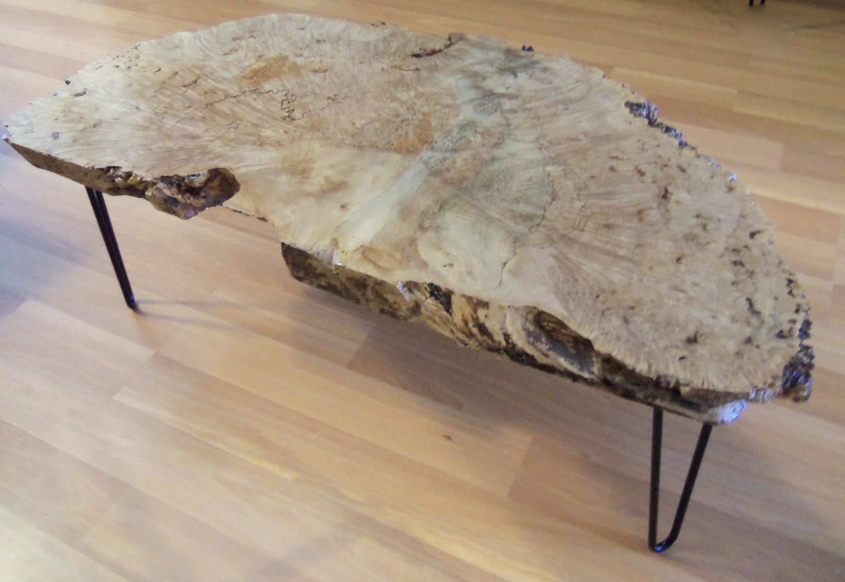 Handmade Coffee Table Big Leaf Maple Burl by Ozma Design