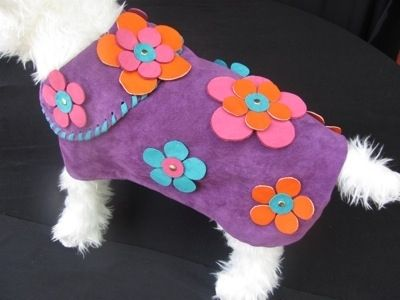 Custom Made Flower Power 60'S Suede Dog Clothes Or Collar