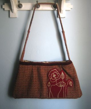 Custom Made Upcycled Purse Made From A Vintage Skirt With Hand Printed Poppies On Recycled Wool