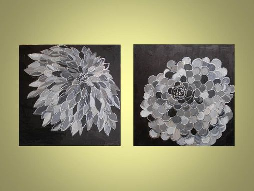 "Custom Made Marigold Abstract Original Painting 18""X18"" Commission Black Gray Silver Flower Textured Painting"