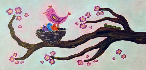 Custom Made Birds In A Tree Girl Nursery Art / Kids Wall Art Painting (Not A Print)
