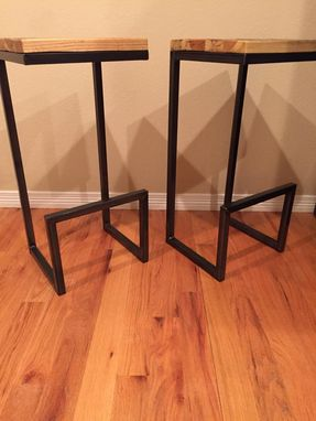 Custom Made Reclaimed Wood & Steel Stools