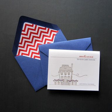 Custom Made Custom Lake House Stationery + Luxe Envelope Liners