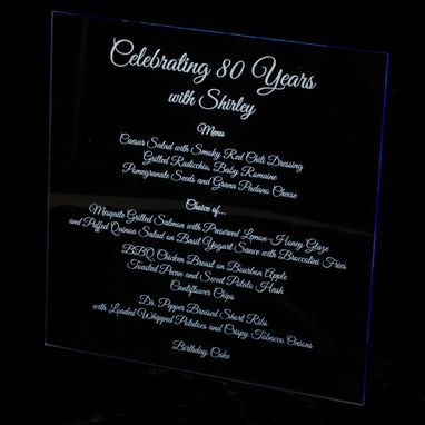 Custom Made Laser Engraved Acrylic Menus
