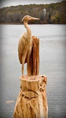 Custom Made Blue Heron With Fish Stump Carving