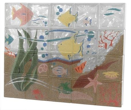 Custom Made Fused Colored Glass Block Murals