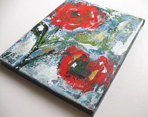Custom Made Still Live Red Acrylic Abstract Flower Painting Original Art On Canvas