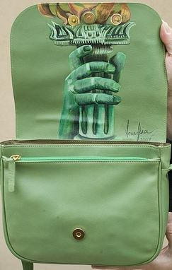 Custom Made Hand Painted Leather Handbag Statue Of Liberty Mother's Day Art Gift