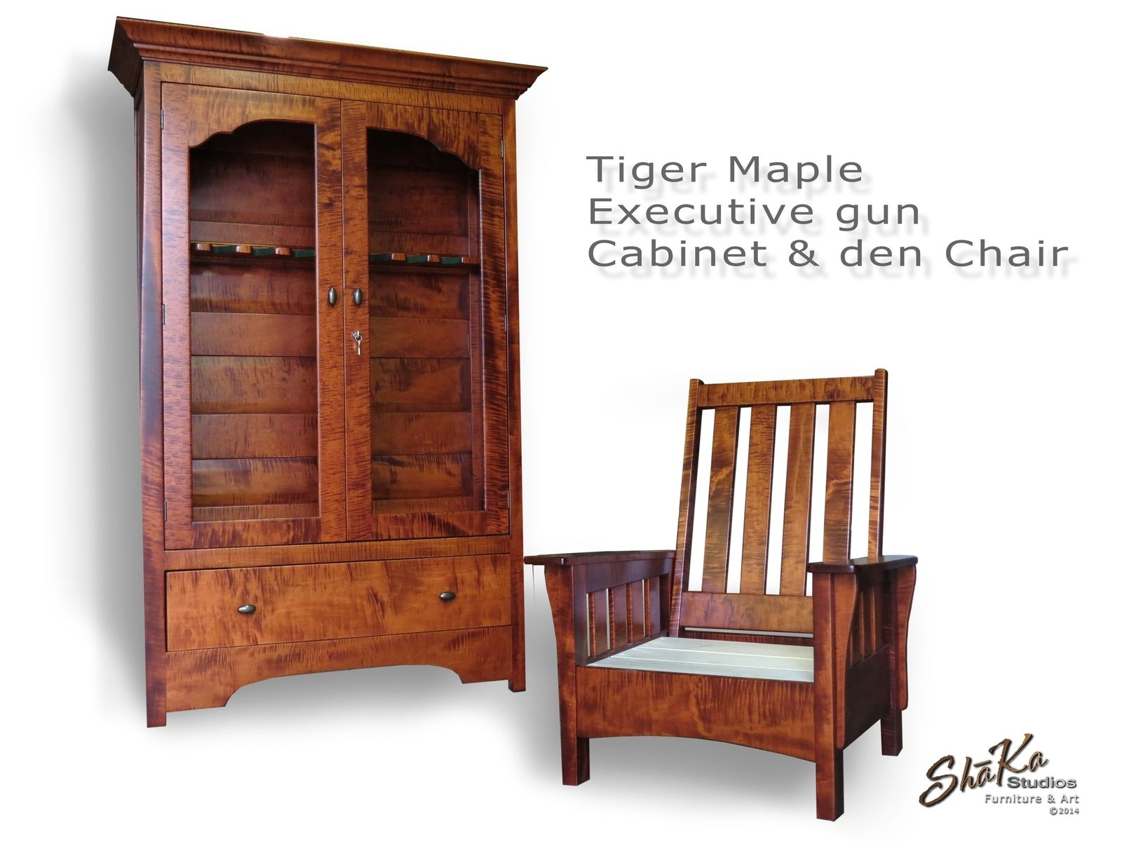 Custom tiger maple executive gun cabinet and den chair by shka custom made tiger maple executive gun cabinet and den chair teraionfo