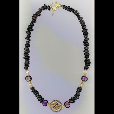 Custom Made Garnet Latticino Necklace