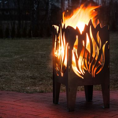 Custom Made Flame Solid Steel Wood Burning Fire Pit