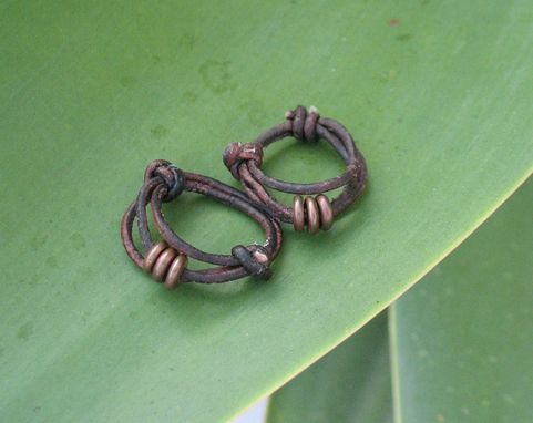 Custom Made Ring / Adjustable Ring: Brown Leather With Three Copper Beads