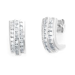 Custom Made 3 Row Diamond Semi Hoop Earring, 14k White Gold Earrings,Ladies Earrigs