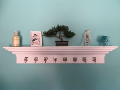"Custom Made 48"" Crown Molding Floating Wall Shelve With 8 Satin Nickel Hooks"
