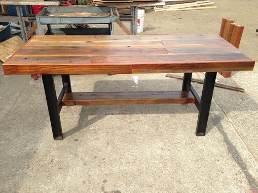Custom Made Reclaimed Wood Table With  Industrial Metal Legs