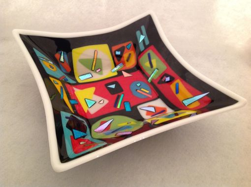 Custom Made Large Fused Glass Square Bowl With Geometric Shapes
