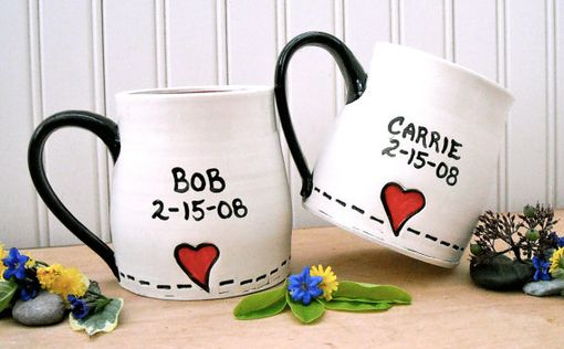 Custom Made Ceramic Pottery All You Need Is Love Mug Set - Letterpress Stamped Beatles Wedding 9th Anniversary