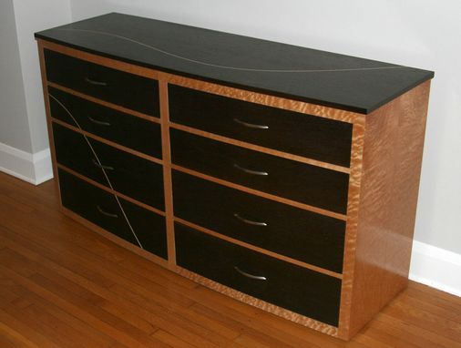 Custom Made Modern Curved Front Dresser In Quilted Maple And Wenge (River)