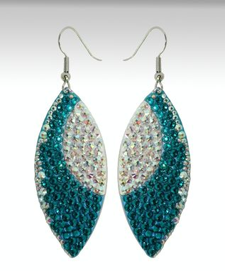 Custom Made Blue Zircon Statement Earrings In Sterling Silver - Made With Swarovski Elements
