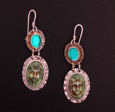 Custom Made Phararoh Vintage Glass Earrings