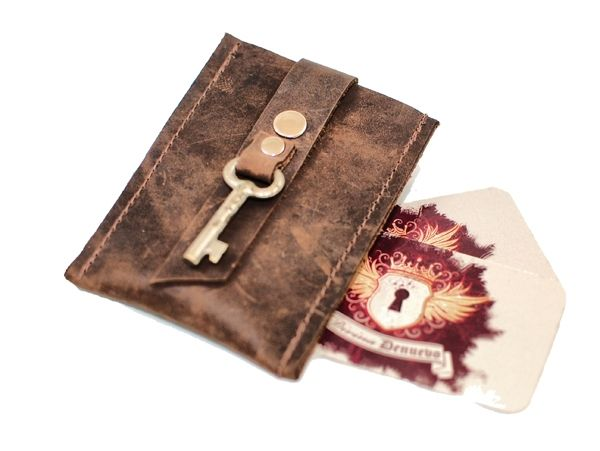 Custom Made Pop Up Leather Card Wallet And Business Holder With Antique Key